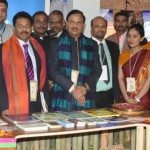 The Union Minister of Tourism and Culture, Dr. Mahesh Sharma Dr, Mahesh Sharma, Joint Secretary of MOT Mr. Suman Billa, Mr Vikas Rustagi, Regional Director (W&C) and other dignitaries at India Tourism Booth.