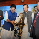The Minister of State for Tourism & Culture (IC) and Civil Aviation, Dr. Mahesh Sharma, Kerala Tourism Minister Mr A.P. Anil Kumar, IATO President Mr Subhash Goyal and other dignitaries lighting the ceremonial lamp at the launch of 'The Visit Kerala Initiative' of Kerala Tourism in New Delhi.