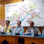 The Minister of State for Tourism & Culture (IC) and Civil Aviation, Dr. Mahesh Sharma along with the Chief Minister of Arunachal Pradesh, Mr Nabam Tuki and the Minister of State for Home Affairs, Mr Kiren Rijiju at a press conference at Itanagar in Arunachal Pradesh