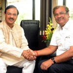 The Minister of Tourism & Culture, Orissa, Mr Ashok Chandra Panda calling on the Minister of State for Tourism & Culture (IC) and Civil Aviation, Dr. Mahesh Sharma in New Delhi.