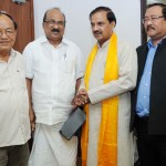 The Tourism Minister of Mizoram, Mr John Rotluangliana and Prof. K.V. Thomas, MP meeting with the Minister of State for Tourism & Culture (IC) and Civil Aviation, Dr. Mahesh Sharma in New Delhi.