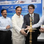 The Minister of State for Tourism & Culture (IC) and Civil Aviation, Dr. Mahesh Sharma lighting the lamp at the Medical & Wellness Tourism Summit 2015 in New Delhi.