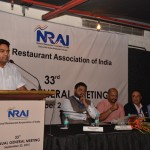 Mr Kapil Mishra, Minister of Tourism, Delhi Government  addressing the gathering at the 33rd NRAI AGM.