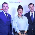 (L/R) British Airways' Robert Williams, Head of Asia Pacific Sales, Bollywood celebrity Jacqueline Fernandez and Moran Birger, Regional Commercial Manager, South Asia for British Airways, at the celebration of the arrival of the airlines Boeing 787-9 Dreamliner in New Delhi