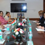 The Minister of Tourism of the Republic of Bulgaria, Mrs. Nikolina Angelkova meeting the Minister of State for Tourism & Culture (IC) and Civil Aviation, Dr. Mahesh Sharma in New Delhi.