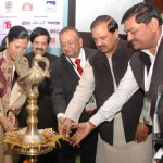 The Minister of State for Tourism & Culture (IC) and Civil Aviation, Dr. Mahesh Sharma lighting the lamp to inaugurate the SATTE Exhibition in New. The Secretary, Ministry of Tourism, Mr Vinod Zutshi, President IATO Mr Subhash Goyal and other dignitaries are also seen.