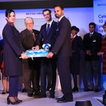 (L-R) Bia Sandhu, British Airways' cabin crew, Jim Davies from British Airways' Heritage Centre, Moran Birger, Regional Commercial Manager, South Asia, British Airways and Abhishek Srivastava, British Airways' cabin crew at the 10th Anniversary Celebration in Bengaluru