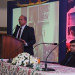 Director Tourism, Jammu Mr. R. K. Varma addressing the Travel Trade, Travel Agents, Tour Operators from Chandigarh and Media. Deputy Director Tourism Jammu Er. S.K. Attri is also seen.