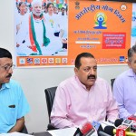 "The Minister of State for Development of North Eastern Region (I/C), Youth Affairs and Sports (I/C), Prime Minister's Office, Personnel, Public Grievances & Pensions, Atomic Energy and Space, Dr. Jitendra Singh addressing a press conference ahead of the ""International Day of Yoga-2016"", in New Delhi"