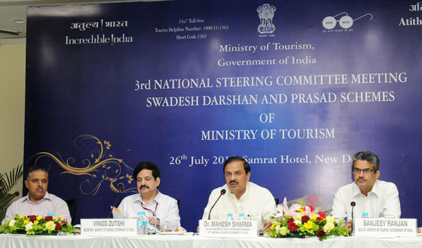 The Minister of State for Culture and Tourism (Independent Charge), Dr. Mahesh Sharma chairing the 3rd National level steering committee meeting for Swadesh Darshan Scheme, in New Delhi on July 26, 2016. The Secretary, Ministry of Tourism, Shri Vinod Zutshi is also seen.