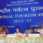 The Speaker, Lok Sabha, Smt. Sumitra Mahajan at the presentation of the National Tourism Awards 2014-15, organised by the Ministry of Tourism, in New Delhi. The Minister of State for Culture and Tourism (IC), Dr. Mahesh Sharma and the Secretary, Ministry of Tourism, Mr Vinod Zutshi and other dignitaries are also seen.