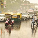 Traffic jam after heavy rains in Lucknow . (Photo: IANS)