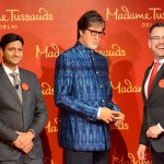 Mr. Anshul Jain and Mr. Marcel Kloos posing with wax figure of Mr. Amitabh Bachchan