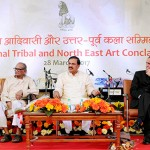 "The Minister of State for Culture and Tourism (IC), Dr. Mahesh Sharma at the inauguration of the ""Festival of Tribal Arts"", organised by Lalit Kala Akademy, in New Delhi."