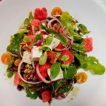 Salad of the Day-Aragula,watermelon and cottage cheese with orange dressing