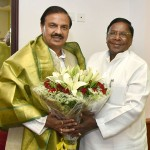 The Chief Minister of Puducherry, Shri V. Narayanasamy meeting the Minister of State for Culture and Tourism (Independent Charge), Dr. Mahesh Sharma, in New Delhi on May 09, 2017.