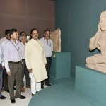 "The Minister of State for Culture and Tourism (Independent Charge), Dr. Mahesh Sharma visiting after inaugurating an exhibition on ""Return of the three stone sculptures"" from Australia, the exhibition is organised to mark the safe return of three stone sculptures (Seated Buddha, Worshippers of Buddha, Goddess Pratyangira) from Australia to India, in New Delhi on May 23, 2017. 	The Secretary, Ministry of Culture, Shri N.K. Sinha and other dignitaries are also seen."