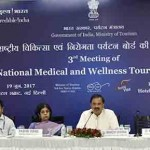 The Minister of State for Culture and Tourism (IC), Dr. Mahesh Sharma chairing the 3rd Meeting of National Medical and Wellness Tourism Board, in New Delhi. The Tourism Secretary, Smt. Rashmi Verma and other dignitaries are also seen.