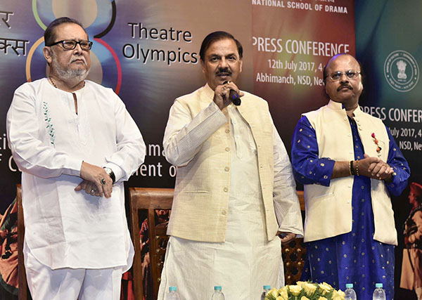 "The Minister of State for Culture and Tourism (IC), Dr. Mahesh Sharma addressing the media to announce the ""8th Theatre Olympics 2018 in India"", in New Delhi."