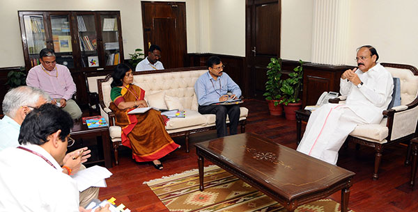 The Union Minister for Urban Development, Housing & Urban Poverty Alleviation and Information & Broadcasting, Shri M. Venkaiah Naidu holding a meeting on Heritage city – Ahmadabad, in New Delhi. The Secretary, Ministry of Information & Broadcasting, Shri N.K. Sinha, the Tourism Secretary, Smt. Rashmi Verma and other dignitaries are also seen.