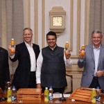 (From L-R): Mr. Ishteyaqye Amjad, Vice President, Public Affairs & Communication at Coca Cola India & South West Asia; Mr. T. Krishnakumar, President, Coca-Cola India and Southwest Asia; Mr. James Quincey, CEO, The Coca-Cola Company; Mr. Devendra Fadnavis, Chief Minister, Maharashtra; Mr. John Murphy, President, Asia Pacific Group, The Coca-Cola Company, launching Minute Maid Santra