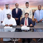 His Highness Sheikh Ahmed Bin Saeed Al Maktoum, Chairman and Chief Executive Emirates Airline & Group, and Krishna Kishore, CEO, Andhra Pradesh Economic Development Board (APEDB), signing the MoU in the presence of representatives from both parties.