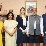 The Minister of State for Tourism (I/C) and Electronics & Information Technology, Shri Alphons Kannanthanam with the Director, Public Policy and Government Affair's Google India, Shri Chetan Krishnaswamy and other Google officials, in New Delhi.