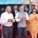 (From L-R) Additional Chief Secretary, Tourism, Government of Rajasthan, Dr. Subodh Agarwal; Minister of State (IC) for Tourism, GoI, Mr. K.J. Alphons and Past President, FICCI; Chairperson, FICCI Tourism Committee, Dr. Jyotsna Suri inaugurating the GITB Exhibition by cutting the ribbon at JECC, Sitapura today.
