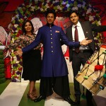 (L-R) Sabia Gulati, Head Sales and Marketing Madame Tussauds and Mr. Anshul Jain, General Manager Madame Tussauds pose along with Shah Rukh Khan's figure at Madame Tussauds Delhi