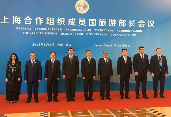 The Minister of State for Tourism (I/C) and Electronics & Information Technology, Shri Alphons Kannanthanam in a group photograph, at the SCO Tourism Ministers Meeting, in Wuhan, China.