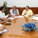 The Minister of State for Development of North Eastern Region (I/C), Prime Minister's Office, Personnel, Public Grievances & Pensions, Atomic Energy and Space, Dr. Jitendra Singh holding a meeting with the Minister of State for Tourism (I/C) and Electronics & Information Technology, Shri Alphons Kannanthanam, in New Delhi. The Secretary, Ministry of DoNER, Shri Naveen Verma and other senior officials of both ministries are also seen.