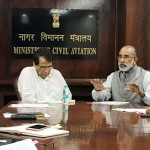 The Minister of State for Tourism (I/C), Shri Alphons Kannanthanam in a high level meeting with the Union Minister for Commerce & Industry and Civil Aviation, Shri Suresh Prabhakar Prabhu and the Minister of State for Civil Aviation, Shri Jayant Sinha, regarding providing better air connectivity for tourist destinations, in New Delhi.