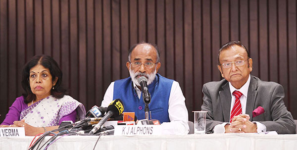 The Minister of State for Tourism (I/C), Shri Alphons Kannanthanam briefing the media about the 'Indian Tourism Mart' to be held from 16th to 18th September 2018, in New Delhi. The Secretary, Ministry of Tourism, Smt. Rashmi Verma and the Chairman of the organizing Committee and FAITH Secretary, Shri Subhash Goyal are also seen.