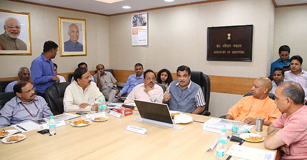 The Union Minister for Road Transport & Highways, Shipping and Water Resources, River Development & Ganga Rejuvenation, Mr. Nitin Gadkari chairing a high level inter ministerial meeting on the Taj Mahal, in New Delhi. The Union Minister for Science & Technology, Earth Sciences and Environment, Forest & Climate Change, Dr. Harsh Vardhan, the Chief Minister of Uttar Pradesh, Mr. Yogi Adityanath, the Minister of State for Culture (I/C) and Environment, Forest & Climate Change, Dr. Mahesh Sharma, the Minister of State for Human Resource Development and Water Resources, River Development and Ganga Rejuvenation, Dr. Satya Pal Singh and the Secretary, Ministry of Environment, Forest and Climate Change, Shri C.K. Mishra are also seen.