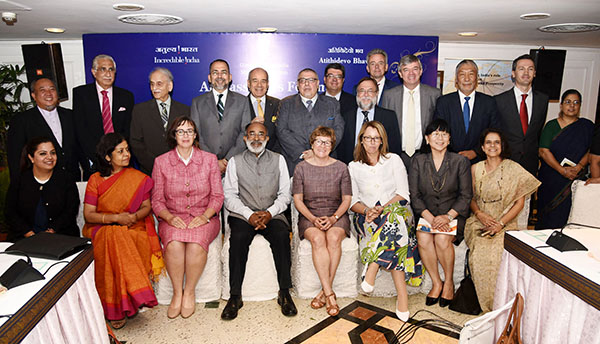 The Minister of State for Tourism (I/C), Shri Alphons Kannanthanam with the Ambassadors and Diplomatic representatives after an interactive session with them to promote bilateral tourism, in New Delhi. The Secretary, Ministry of Tourism, Smt. Rashmi Verma is also seen.