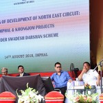 The Minister of State for Tourism (I/C), Shri Alphons Kannanthanam addressing at the inauguration of the 'Development of North East Circuit: Imphal & Khongjom projects' under Swadesh Darshan Scheme, in Imphal, Manipur. The Governor of Manipur, Dr. Najma Heptulla, the Chief Minister of Manipur, Shri N. Biren Singh and other dignitaries are also seen.