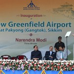 The Prime Minister, Shri Narendra Modi addressing the gathering at the inauguration of the Pakyong Airport, in Gangtok, Sikkim. The Union Minister for Commerce & Industry and Civil Aviation, Shri Suresh Prabhakar Prabhu, the Chief Minister of Sikkim, Shri Pawan Kumar Chamling, the Minister of State for Development of North Eastern Region (I/C), Prime Minister's Office, Personnel, Public Grievances & Pensions, Atomic Energy and Space, Dr. Jitendra Singh and the Minister of State for Electronics & Information Technology, Shri S.S. Ahluwalia are also seen.