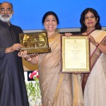 The Minister of State for Tourism (I/C), Mr. Alphons Kannanthanam presenting the Best Adventure Tourism Award to Mrs. Poonam Chand, Joint Director, Tourism on behalf of Uttarakhand at National Tourism Awards (2016-17) function, organised by the Ministry of Tourism, in New Delhi. The Secretary, Ministry of Tourism, Smt. Rashmi Verma is also seen.
