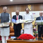 The Vice President, Shri M. Venkaiah Naidu releasing the Coffee Table Book of Delhi Airport, on completion of 12 years of operations of GMR Group at Delhi Airport, in New Delhi. The Lt. Governor of Delhi, Shri Anil Baijal, the Minister of State for Civil Aviation, Shri Jayant Sinha, the Secretary, Ministry of Civil Aviation, Shri R.N. Choubey and other dignitaries are also seen.
