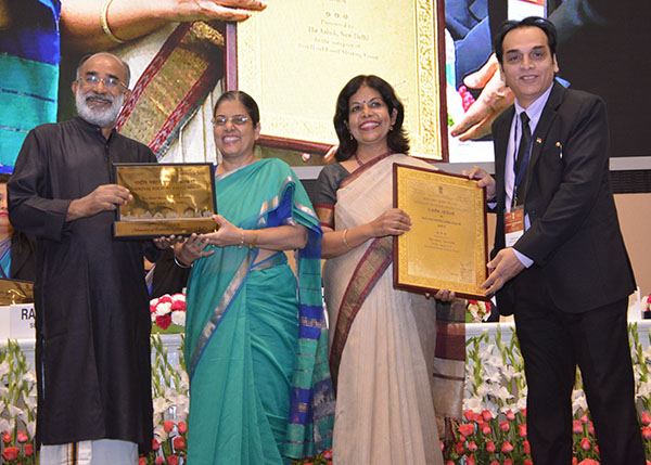 CMD, ITDC Ms. Ravneet Kaur and Director (Commercial & Marketing), ITDC receiving National Tourism Award for The Ashok under Best Hotel Based Meeting Venue from Hon'ble Tourism Minister & Secretary Tourism