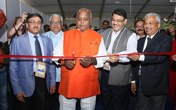 In the Center Shri Pramod Kumar, Tourism Minister, Govt. of Bihar and towards his right Mr. Hari Ranjan Rao (IAS) Managing Director, Madhya Pradesh Tourism Board & Principal Secretary inaugurating MPTM in Bhopal. Mr. Swadesh Kumar, President ATOAI, Mr. P P Khanna, President and Mr Anil K Rajput, Joint Secretary ADTOI are also seen.