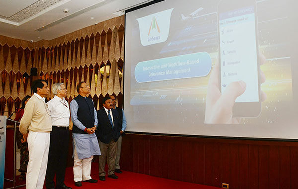 The Union Minister for Commerce & Industry and Civil Aviation, Mr. Suresh Prabhakar Prabhu at the launch of the AirSewa 2.0: Upgraded Web Portal and Mobile App for air passengers, in New Delhi. The Minister of State for Civil Aviation, Mr. Jayant Sinha and the Secretary, Ministry of Civil Aviation, Mr. R.N. Choubey are also seen.