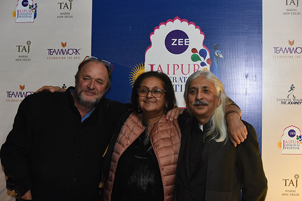 William Dalrymple, Namita Gokhale, and Sanjoy Roy at the Curtain Raiser of ZEE Jaipur Literature Festival 2019